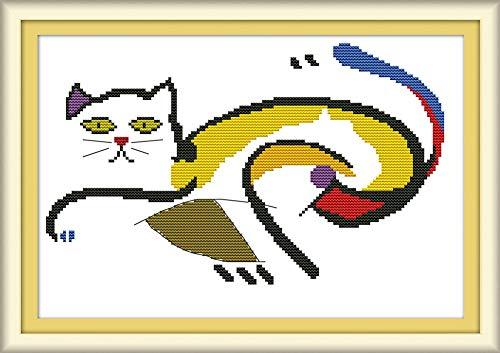 Abillyn - Kit de punto de cruz para bordado de gato asustado con patrón impreso para principiantes (gato)