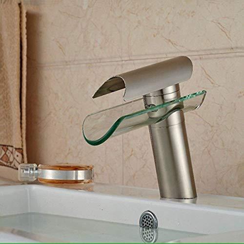 JZYQWE Grifo mezclador monomando de cocina Grifo de cocina Grifo moderno de cobre y níquel Cepillado-Baldosa-Cascada-Baño Lavabo-Grifo de baño | Grifo de lavabo | Mezclador de agua fría y caliente,