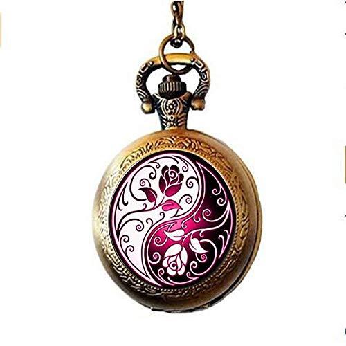 Mooie Yin Yang Rose Photo Pocket Horloge Ketting Glas Sieraden Art Nouveau Mooie Geschenken