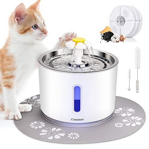 Comsmart Cat Water Fountain, 81oz/2.4L LED Pet Fountain Stainless Steel Automatic Drinking Water