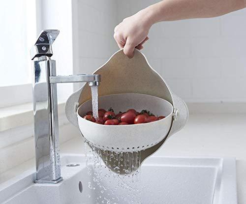 JFHGNJ Dubbellaags plastic afvoermand keukenartefact creatieve ronde vrucht artefact multifunctionele wasmand