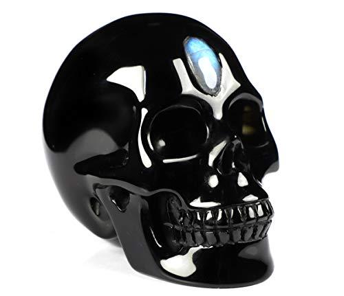 "Skullis 3.0""Black Obsidian and Labradorite Eye of Heaven Crystal Skull, Hand Carved Gemstone Fine Art Sculpture, Reiki Healing Stone Statue."