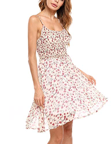 Zeagoo Damen Chiffon Kleid Strandkleid Blumen Druckkleid Bandeaukleid Floral Sommerkleid Spaghetti Trägerkleid, A-Weiss-2, 42 (Herstellergröße : XL)