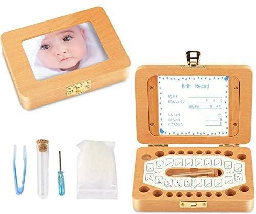 乳歯ケース 乳歯入れ 赤ちゃん用 乳歯ボックス 記念 木製 写真入れ可能 1年保証 名前と抜けた日シール付き 乾燥用綿付き うぶ毛を入れるミニボトル付き 男の子 女の子