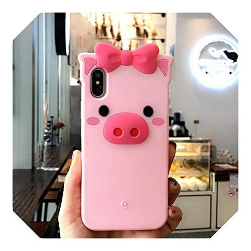 3D Encantador de dibujos animados tigre rosa cerdo caso para iPhone 6 6S 7 8 Plus silicona funda de goma para iPhone X 10 cubierta de coque