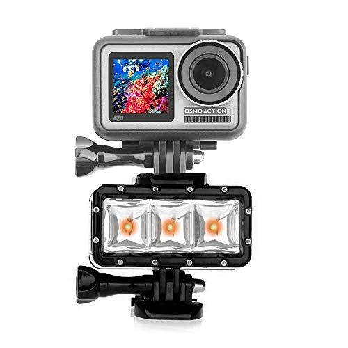 O'woda Luz de Buceo Alta Potencia Impermeable Regulable Linterna LED luz de vídeo con Battery para GoPro Hero 6/5/4/3/2, SJCAM/OSMO/YI Camaras de accion Accesorios
