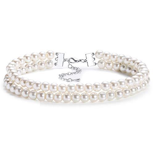 Coucoland 1920s Damen Halskette Multi Schichte Choker Kette Hochzeit Braut Schmuck Accessoires Imitation Perlen Kette Elegant Retro Stil Fasching Kostüm Zubehör (Stil 3)