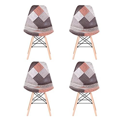 Sim Luxury Esszimmerstühle 4er Set Patchwork Stuhl mit Buche Material Stuhlbeine Hohe Rückenlehne Stuhl für Schlafzimmer Wohnzimmer Zuhause Küche (Braun)