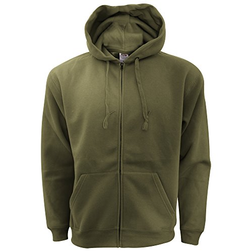 Fruit of the Loom - Sweatshirt à Capuche et Fermeture zippée - Homme (XL) (Olive)