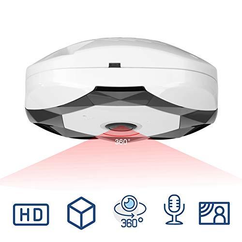 960P IP-Kamera, WLAN 360 Grad Überwachungskamera Panoramakamera mit IR Bewegungserkennung, Zwei-Wege-Audio, Nachtsicht Sicherheitssystem(EU)