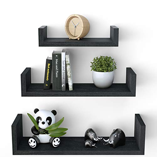 SRIWATANA Floating Shelves Wall Mounted, Solid Wood Wall Shelves, Weathered -