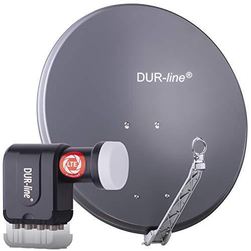 DUR-line 8 Teilnehmer Set - Qualitäts-Alu-Satelliten-Komplettanlage - Select 75cm/80cm Spiegel/Schüssel Anthrazit + Octo LNB - für 8 Receiver/TV [Neuste Technik, DVB-S2, 4K, 3D]