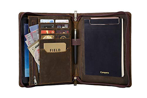 Carpeta portafolio de piel retro, tamaño A5, portadocumentos para documentos, portafolios de negocios, para mujeres y hombres, color marrón oscuro Custom