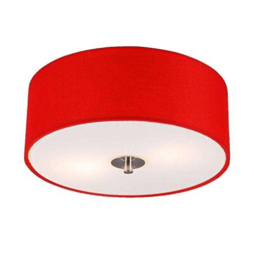 QAZQA Plafoniera drum - Moderno - Vetro,Tessuto - Rosso - Tondo Max. 2 x 40