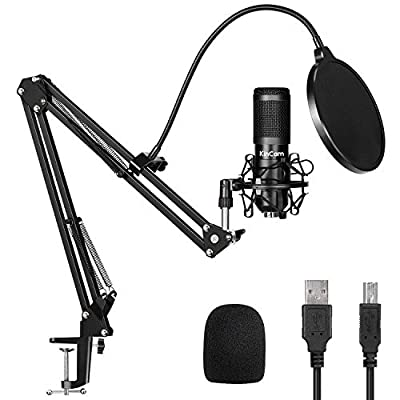 USB Condenser Microphone Kit,KinCam Studio PC microphone with Stand,Professional 192KHZ/24Bit Streaming Podcast Mic for YouTube Video,Recording,Game,Streaming Singing