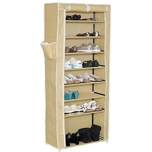 Meuble à chaussures avec 8 casiers, beige