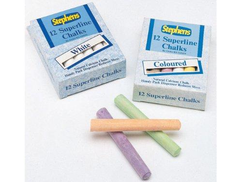 3X White Chalk 12 Stick Pack