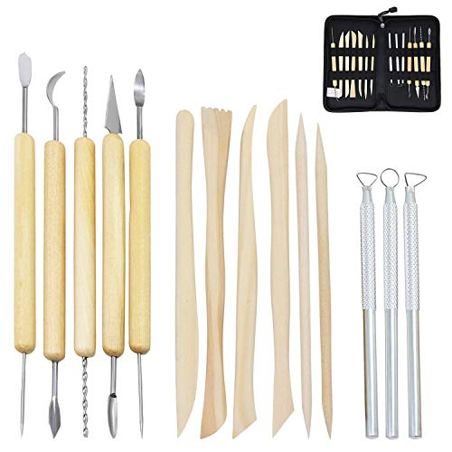Coolty 14 Stück Modellierwerkzeug, Ton Sculpting Tools Kits für Ton und Keramik mit Reißverschluss