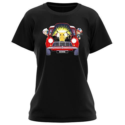 Okiwoki T-Shirt Femme Noir Parodie Pokémon - Pikachu, Sasha et Aurore - Pika dépannage (T-Shirt de qualité Premium de Taille L - imprimé en France)