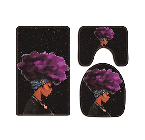 AO BLARE Traditional Purple Hair African Black Women Starry Background Bath Mat 3 Piece Set Soft Flannel Cloth Washable Toilet Seat Covers Toilet Lid Covers Cushions Pads Skidproof Bath Mat (Purple)