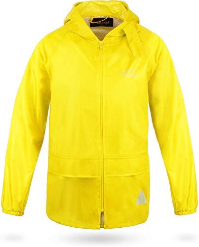 normani Outdoor Sports Kinder wasserdichte Unisex Regenjacke Regenmantel mit Kapuze und 3M Reflektoren Farbe Gelb Größe L/146-152
