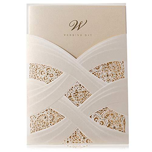 WISHMADE 20 x Elfenbeinfarbene Lasergeschnittene Hochzeitseinladungen Kits mit Spitzenhülse Blumen Design für Brautpartys Heirat mit blanko bedruckbar Papier und Umschläge -Hochzeitskarten, 20 Stücke
