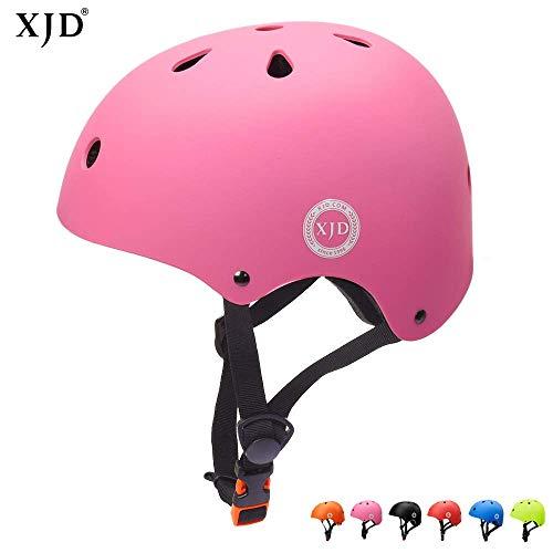 XJD Casco de Ciclismo para Niños Ajustable y Resiste al Impacto Ventilación con Muchos Colores -para Multideportivo Patineta Bicicleta Rollerskate Ciclismo (Rosa, S)