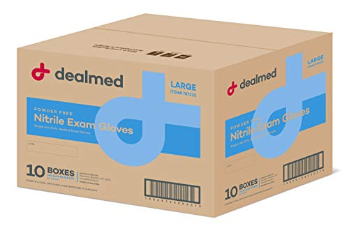 Dealmed Nitrile Medical Exam Gloves, Disposable Latex Free, Large, 1000 ct. (Pack of 10)