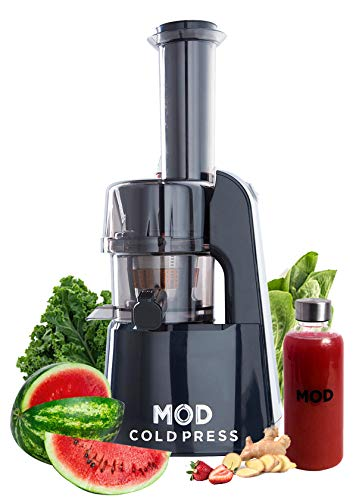 MOD Cold Press Juicer Machine (Black) + Wellness Bundle, Slow Masticating Juicer, Wide Mouth Chute, Easy to Clean, Compact with a Quiet and Powerful Motor + Recipe Book for Fruits and Veggies included. Makes Delicious Celery Juice.