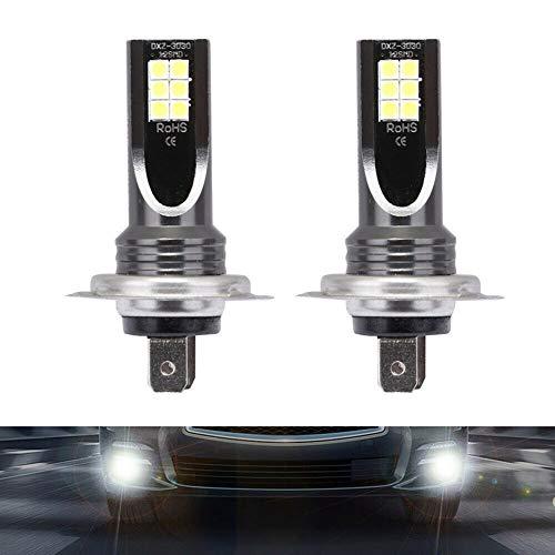 Midore 2 Pezzi Lampadine H7 Auto LED Bianco Freddo 6000K 24W 12-24V 12 SMD 3030 Chip con Proiettore, Lampada fendinebbia Nebbia Super Luminosa DRL 2000 Lumen