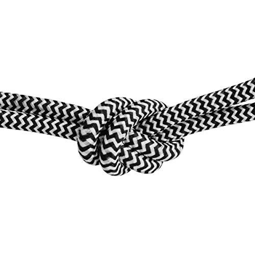 Cable textil para lámpara con certificación KEMA. Tiene tres conductores y está recubierto de algodón en blanco y negro (3 x 0,75 mm). Disponible hasta 30 metros