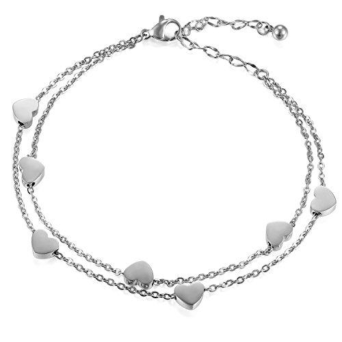 Cupimatch Damen Armband Herzen Armkette Armschmuck Fußkette, Doppelt Kette Armband für Frauen Mädchen Armreif Silber, Rosegold (Silber-Herzen)
