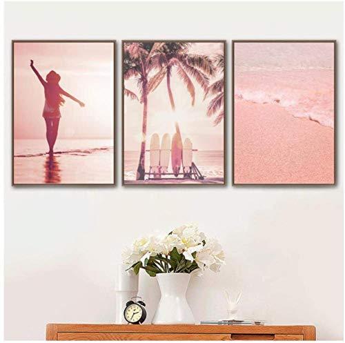 YHJJ Póster Artworks Pink Beach Coconut Tree Tabla de Surf Carteles e imágenes nórdicos para la decoración de la Sala de Estar 3 Piezas 40x60cm sin Marco