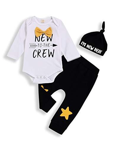 Neugeborenes Baby Jungen Kleidung Hipster Fliege Gurt Sweatsuit Langarm Strampler + Hose 2-teiliges Outfits Set Gr. 68, Weiß-2