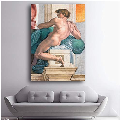 chtshjdtb canvas kunst klassiek schilderij Michelangelo maken van Adam wandschilderijen voor de woonkamer 60x80cm No Frame
