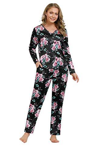 Zexxxy pyjama dames pyjama satijn lange button-down nachtkleding met broek huispak sleepwear