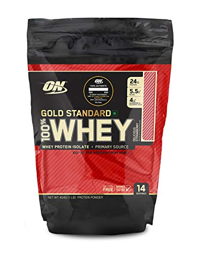 Optimum Nutrition (ON) Gold Standard 100% Whey Protein Powder 1 lbs, 454 g (Delicious Strawberry), for Muscle Support & Recovery,...