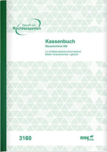 RNK 3160 - Kassenbuch mit 2 x 50 Blatt, heraustrennbare Belege, mit Durchschreibepapier, DIN A4