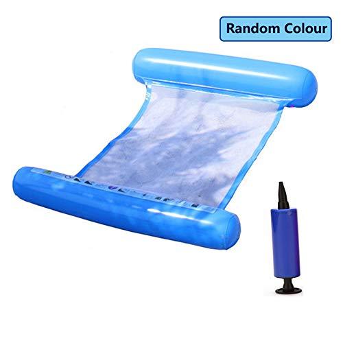 YOREN Schwimmstuhl, Pool-Liege, aufblasbare Wasserliege für Erwachsene, schwimmende Hängematte mit Luftpumpe zum Schwimmen, zufällige Farbauswahl