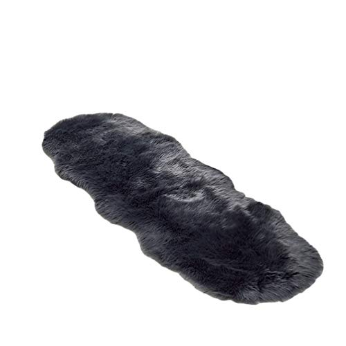 GladiolusA Faux Teppich Imitat Teppich Longhair Fell Optik Bettvorleger Sofa Matte Dunkelgrau 60 * 180cm