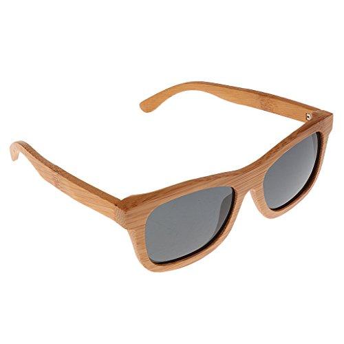 サングラス ユニセックス 男性 女性 UV400保護 偏光ガラス 木製 偏光サングラス 木製のメガネ 多色選べる - ブラック, 説明したように