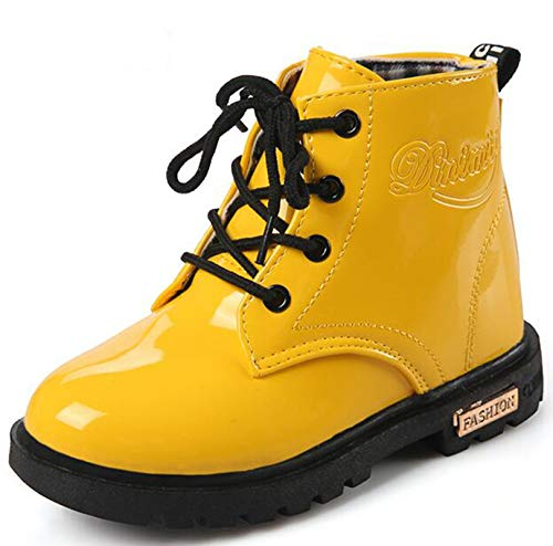 D.S.mor Toddler Little Kid Big Kid Yellow Duck Soft Rubber Rain Boots Anti-Slip Rain Shoes (Toddler 8 M)