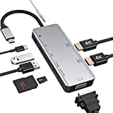 USB C Docking Station, USB C Hub für Dual 4k...
