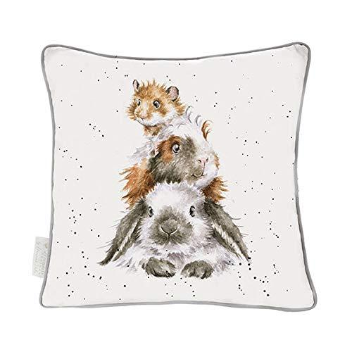 Wrendale Designs Kissen mit Hasen- und Meerschweinchenmotiv, 40 cm