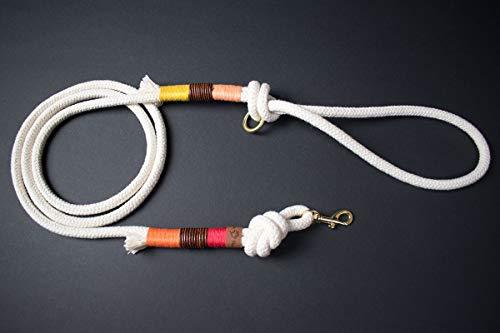PINOLINO Hundeleine mit Braun Vintage Leder aus Tauwerk Seil (Gelb, Papaya, Orange, Rot) - GOLDEN PAW