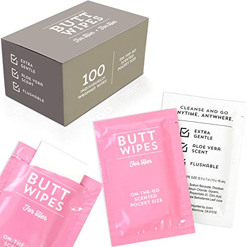 Butt Wipes for Women Individually Wrapped Flushable Wet Wipes, Aloe Vera Scented (100 Pack)