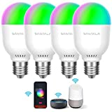 Smart Light Bulb, WiFi LED Light Bulbs, Work with Apple HomeKit, Alexa, Google Assistant, Dimmable A19 E26 Bulb 60 Watt Equivalent, 2.4GHz WiFi Only, No Hub Required (4 Pack)