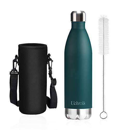 Uchrolls Botella de Agua aislada al vacío de Acero Inoxidable, 750ml, diseño de Pared Doble para Mantener Sus Bebidas Caliente y Fría, BPA Gratis, Ideal Botella de Agua Deportiva (Verde Oscuro)