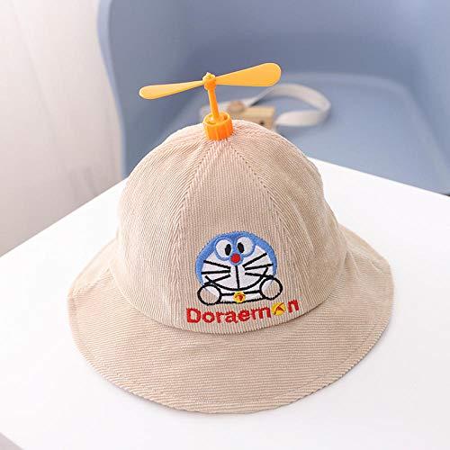 Cappello per Bambini Modelli Autunnali e Invernali Cappello da Pescatore di Cartone Animato Cappello da pentola di bambù in Velluto a coste-Beige-50 cm1-3 Anni