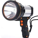 ALFLASH Linterna LED de 7000 lúmenes, 6600 mAh, recargable por USB, linterna de mano para exteriores, resistente al agua, muy clara, portátil, color plateado